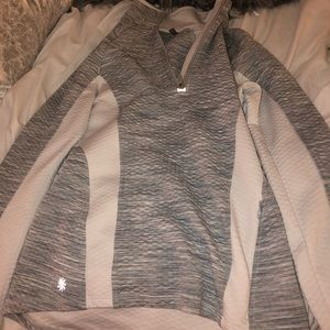 Gray and white color block pullover